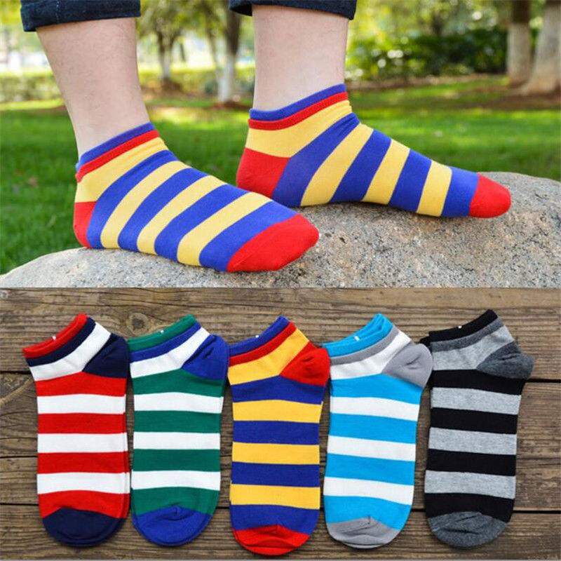 High Quality Socks Men Cotton Spring Summer And Autumn Striped Sock Men's And Male Colorful Dress Short Socks