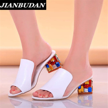 Rhinestone sandals slippers 2016 summer fish head, diamond big yards sandals, thick with female sandals high heels sandals women
