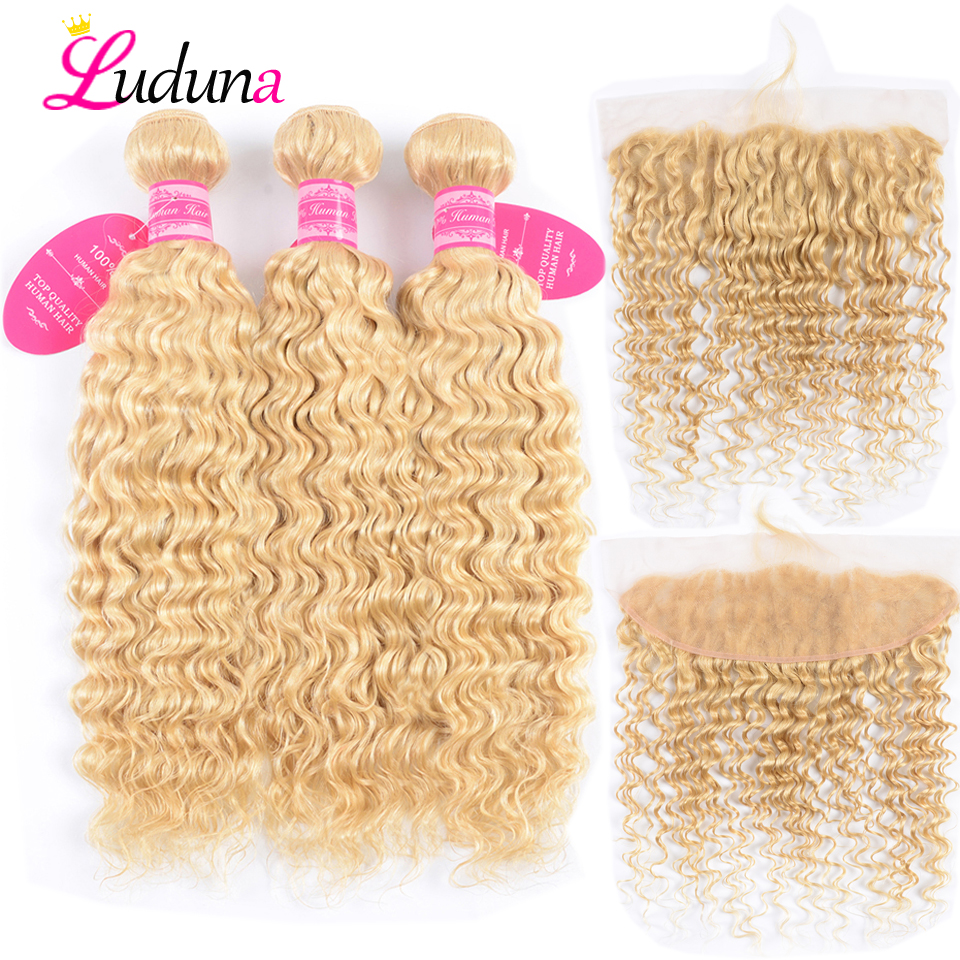 Luduna 613 Bundles With Frontal Brazilian Deep Wave Blonde Hair Bundles With Frontal Closure Remy Weave