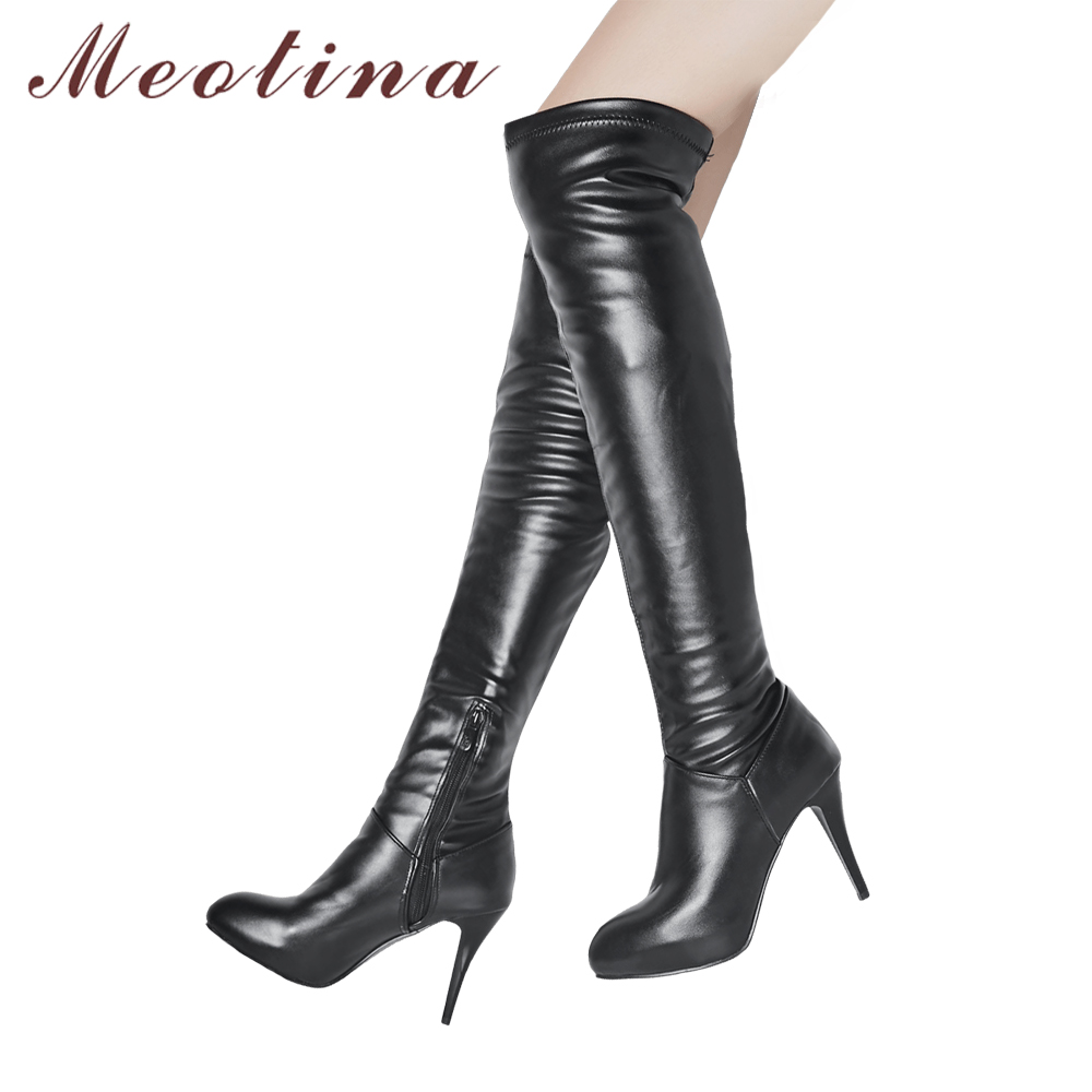 d4f02e19bd7 Meotina Thigh High Boots Women Winter Boots High Heel Over the Knee Boots  Round Toe Long Shoes Zip Sexy Female Footwear White