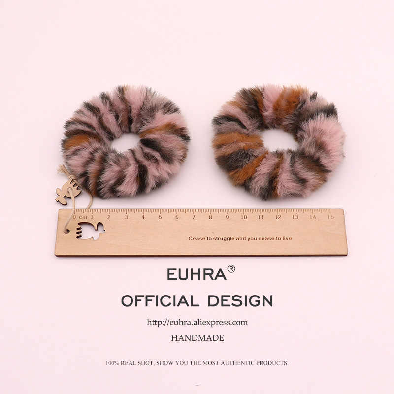 EUHRA Faux Fur Hairball Plush Ball Rabbit Tail Elastic Hair Bands For Women Girls Hair Band Kid Children Rubber Band