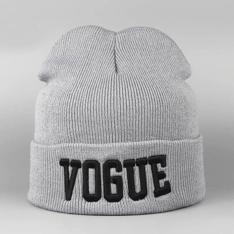 Embroidery VOGUE Autumn   Skullies     Beanies   Woman Stylish Soft Winter Knitted Hat Female Cap Acrylic Warm   Beanies   For Ladies