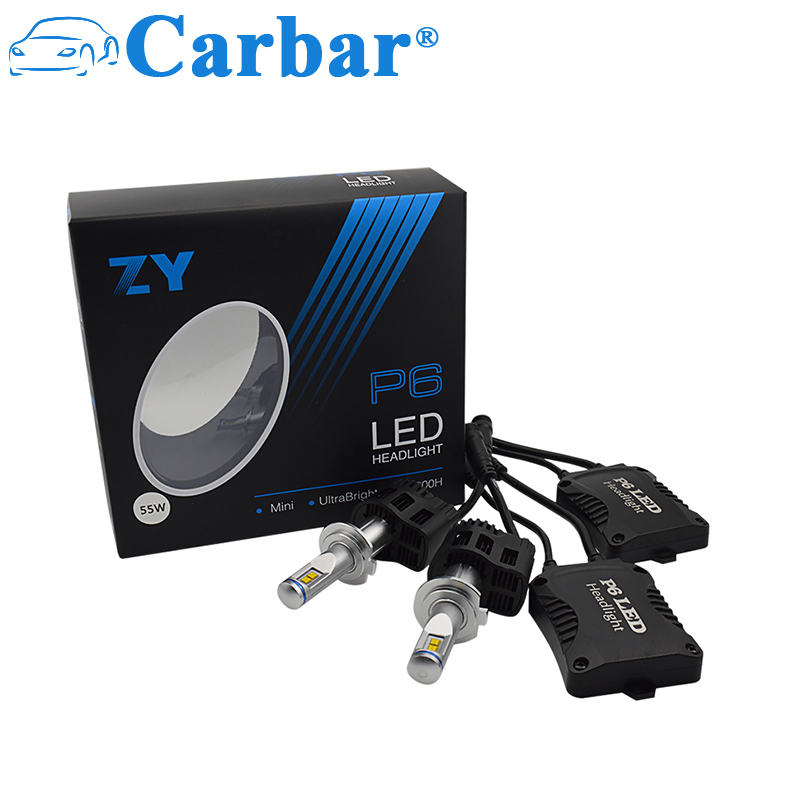 Carbar# 2Pcs P6 H7 LED Headlight Bulbs H7 All-in-One Conversion Kit LED Headlights H7 110W 10400LM/set High Power LED Bulb rockeybright 1set all in one n1 h7 led headlight fog head lamp kit with 2pcs h7 led adapter for the new jetta for the new bora