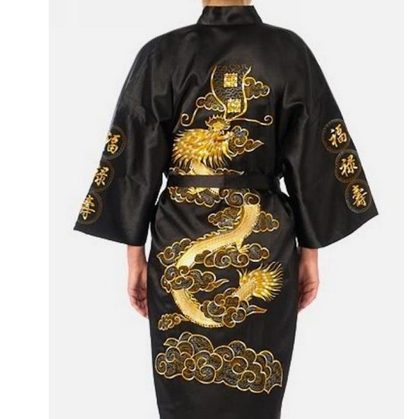 Plus Size XXXL Black Chinese Women Silk Satin Robe Novelty Embroidery Dragon Kimono Yukata Bath Gown Sleepwear Nightgown A138