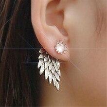 купить ECODAY Vintage Earrings Angel Wings Crystal Stud Earrings for Women Brincos Earings Fashion Jewelry Piercing Earrings дешево