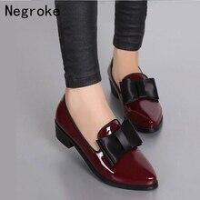 Новинка; женские туфли-лодочки; модные тонкие туфли из блестящей лакированной кожи с бантом на массивном низком каблуке; женские туфли-лодочки с острым носком; zapato mujer