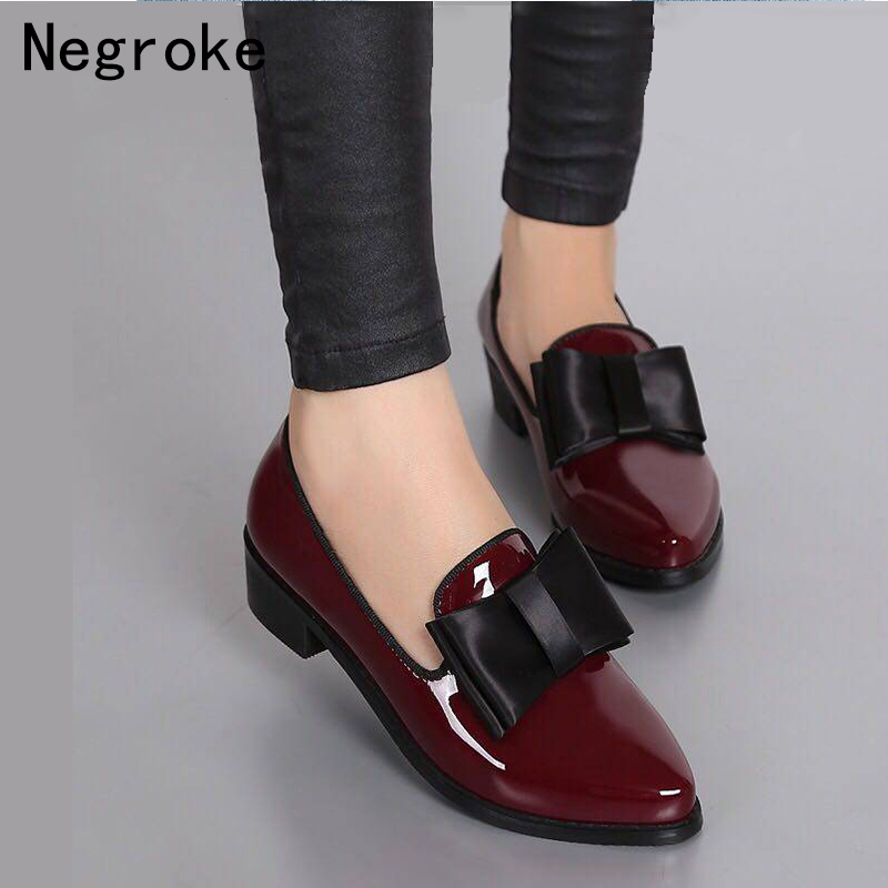 New Women Pumps Fashion Bowknot Shiny Patent Leather Block Chunky Low Heels Single Shoes Woman Pointed Toe Pumps Zapato Mujer