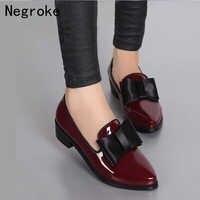 Nuevas bombas de Mujer de moda Bowknot brillante de charol bloque de tacones bajos gruesos zapatos de Mujer zapatos de punta puntiaguda Zapato Mujer