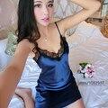 2016 Primavera Verano Otoño Mujeres Señora Sexy Camisón Camisón de Seda Femenina Vestido Casual En El Hogar Del Amante Noche Falda y ropa de Dormir