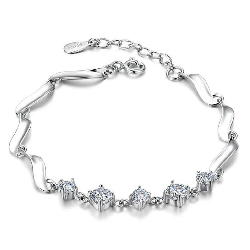 Cute Zircon Charms Bracelet 925 Silver Bracelets For Women Men Bracelets & Bangles Jewelry Femme Bileklik Pulseira Wholesale
