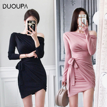 DUOUPA One Shoulder Slope Long Sleeve High Waist Sexy Bodycon Dresses 2019 Women Fashion Party Dress