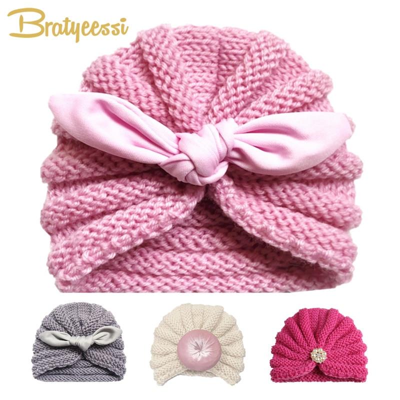 Bonnet d'hiver tricoté pour filles couleur bonbon Bonnet Enfant bébé Bonnet Turban chapeaux nouveau-né bébé casquette pour garçons accessoires