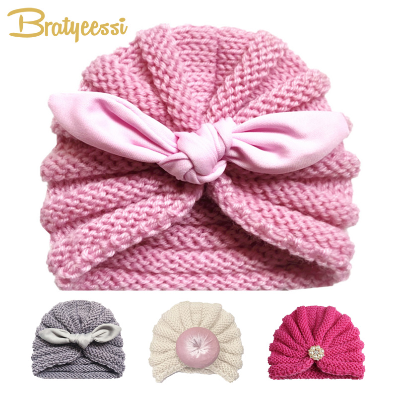 Knitted Winter Baby Hat For Girls Candy Color Bonnet Enfant Baby Beanie Turban Hats Newborn Baby Cap For Boys Accessories