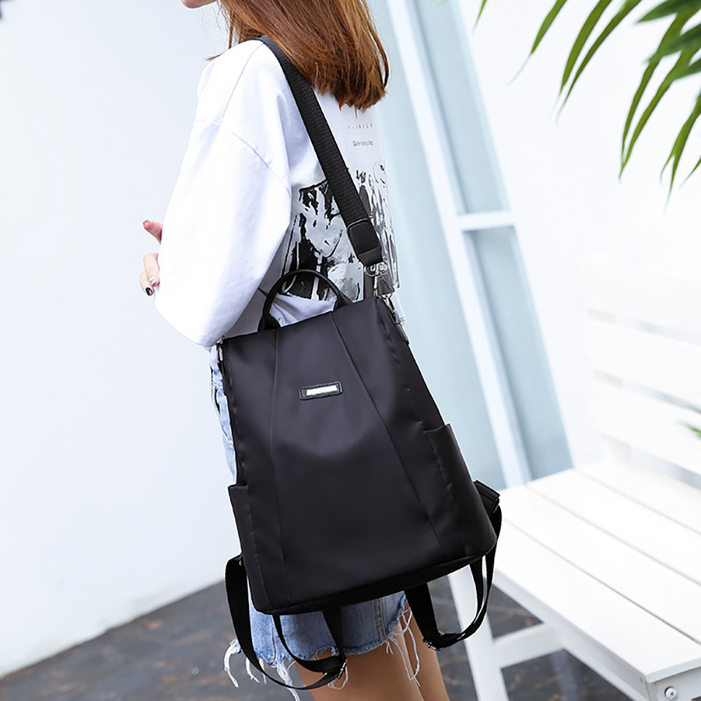 Vintage Leather Women Travel Backpack Travel New Fashion Casual Pu Women Anti-theft Backpack Oxford Cloth Dual-Straps Backpack