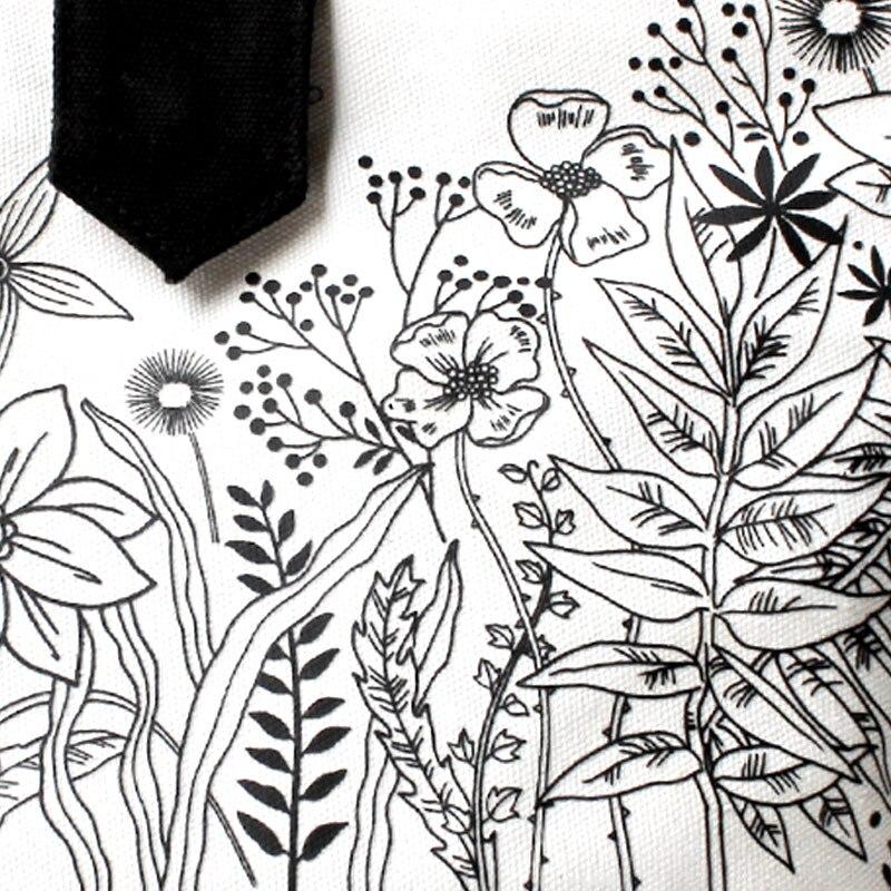 Lillede printsess brändi lõuend klapi naiste moe valge must õie - Käekotid - Foto 6