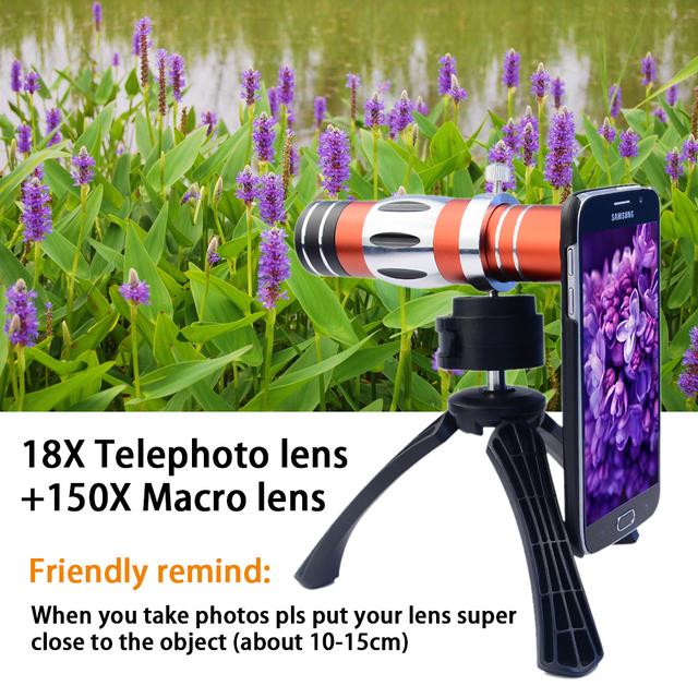 18X de Zoom Óptico Del Telescopio lente Macro Lente para el Teléfono Móvil + 150X con tapa trasera y lente de la cámara kit trípode para iphone 6 cl-89