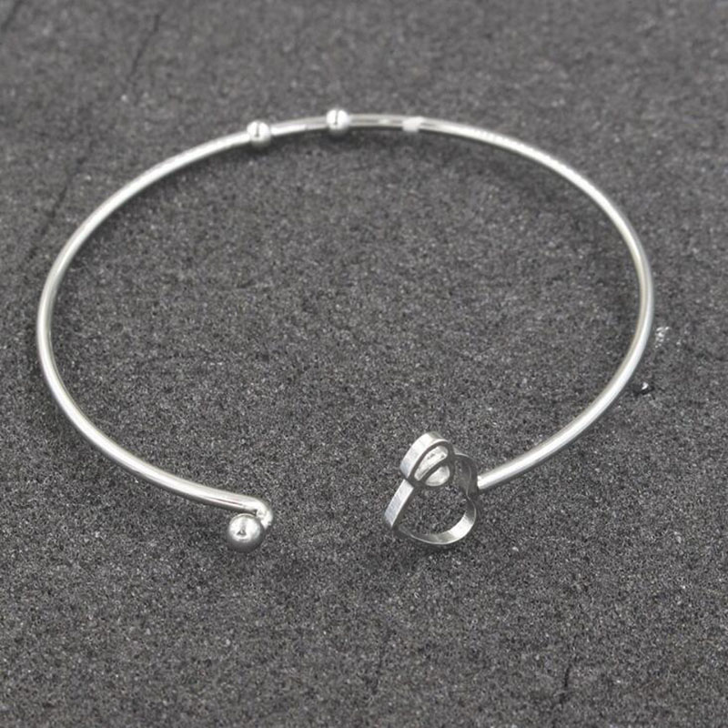 50 stks/partij Rvs 60mm 2mm Dikke Dubbele Harten Armband Manchet Armband Kan Open DIY Sieraden Groothandel-in Armring van Sieraden & accessoires op  Groep 2