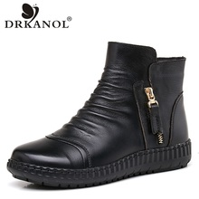 DRKANOL New Arrival Natural Genuine Cow Leather Flat Boots Women Snow Boots Autumn Winter Plush Warm Ankle Boots Botas Mujer