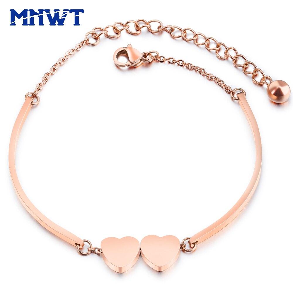 MNWT Romantic Heart Women Bracelets Bangles Rose Gold Titanium Steel Bracelet For Women's Pulseiras Friendship Jewelry Bangle