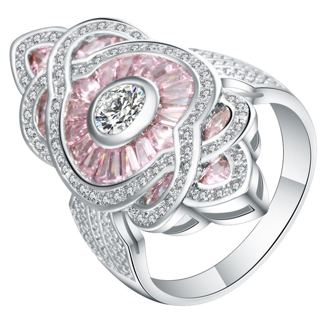 Big Rose Cubic Zirconia Flower Rings Female White Gold Filled Jewelry Gift Luxur