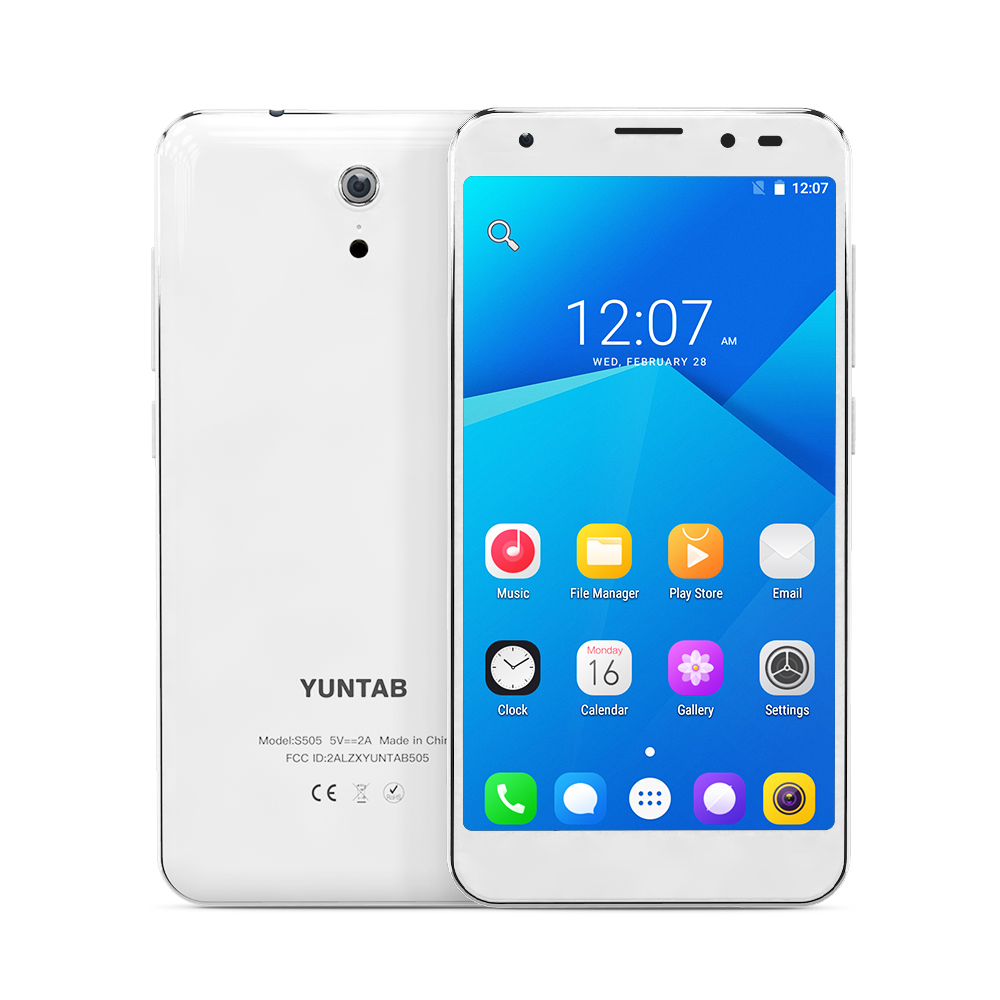 YUNTAB 5inch 4G white S505 Android6.0 tablet Quad-core 2GB+32GB support Dual SIM Slots Cellphone with Dual Camera (white) yuntab 4g phablet h8 android 6 0 tablet pc quad core touch screen 1280 800 with dual camera and dual sim slots black