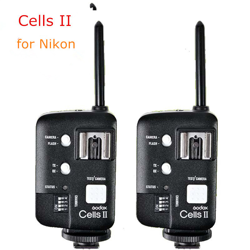 2pcs Godox Cells II High-Speed Flash Studio Photo Device Trigger Wireless Remote Flash Sync Speed 1/8000 For Nikon Camera DSLR 2pcs godox cells ii 1 8000s wireless transceiver trigger kit for canon eos camera speedlite and studio flashes