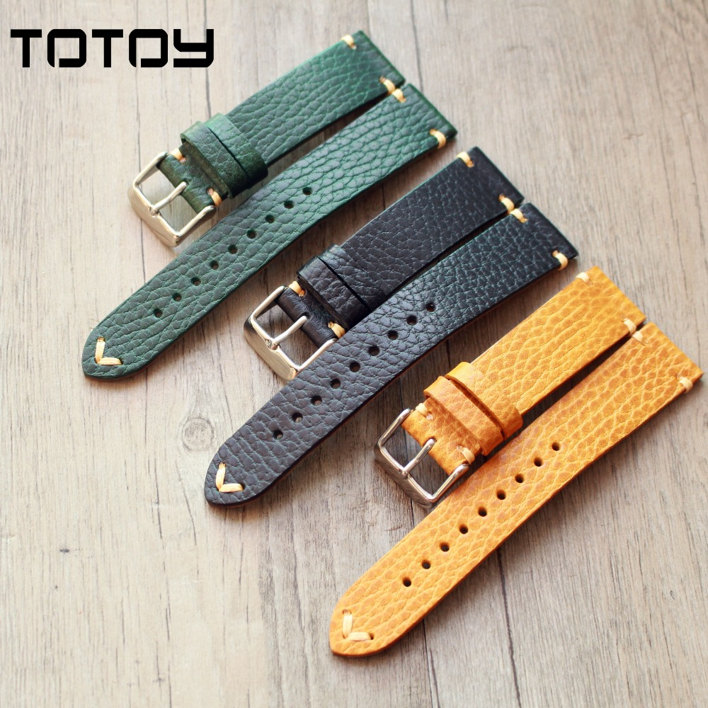 TOTOY Handmade Dollaro Color Leather Watchbands, 20MM 22MM Soft Italian Strap, Vintage Men Watchbands