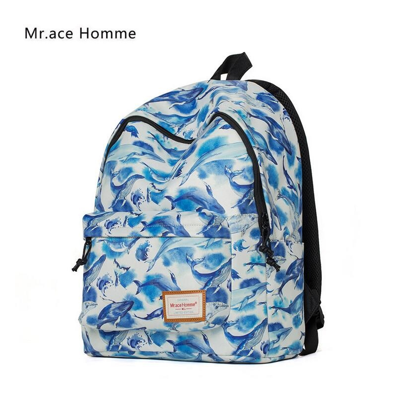 ФОТО Mr.Ace Homme New Backpack Korean Style Fashion Bag Hot Sale for Women Travel Backpack Cartoon Whale Printed School Bags mochila