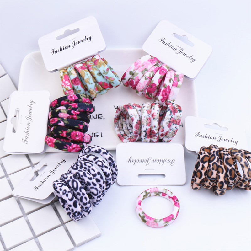 Hot 6Pcs Elastic Leopard Print Hair Ropes Cotton Flower Hair Rings Women Girls Hair Bands Ponytail Holder Hair Accessories in Women 39 s Hair Accessories from Apparel Accessories
