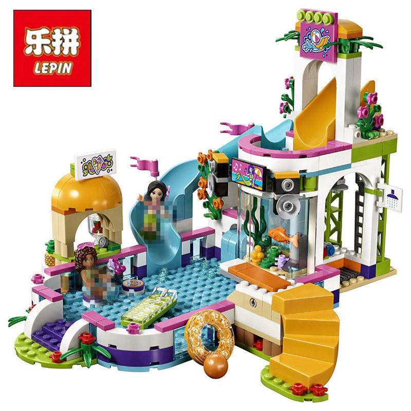 Lepin 01013 Friends 589pcs Building Blocks toy Heart Lake City Summer swimming pool kids Bricks toys girl gifts heart shape ru bun lock children puzzle toy building blocks