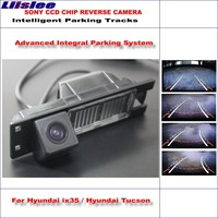 Liislee Intelligent Parking Tracks Car Rear Camera For Hyundai ix35 / Hyundai Tucson Backup Reverse / NTSC RCA AUX HD SONY