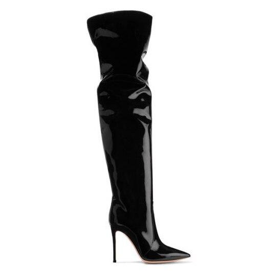 Furtado Bottes Brillant Cuir Hiver Sur Black Le Talons Genou Stilettos Automne Chaussures Sexy Haute Arden Cm En Mode De 12 Femmes Plissée 2018 pYqUnwd