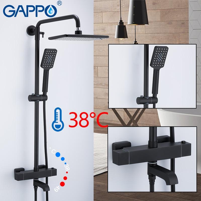 GAPPO shower system black bathroom shower set bath shower mixers waterfall thermostatic mixer tap rain bathtub
