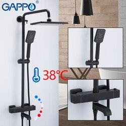 GAPPO Душевая система, черный набор для душа для ванной, смесители для душа, водопад, термостатический смеситель, смеситель для дождевой ванны,...