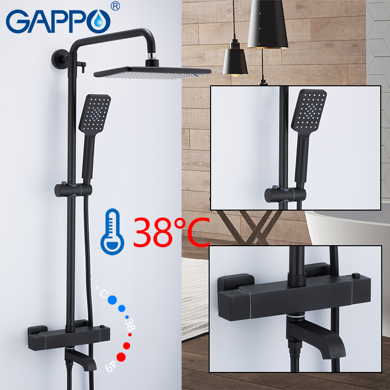 Ev Dekorasyonu'ten Duş Sistemi'de GAPPO duş sistemi siyah banyo duş seti banyo duş bataryaları şelale termostatik musluk bataryası yağmur küvet musluk