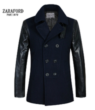 Free shipping ! winter new influx men brand Slim woolen coats long sections Stitching Leather Sleeve woolen jacket / M-3XL