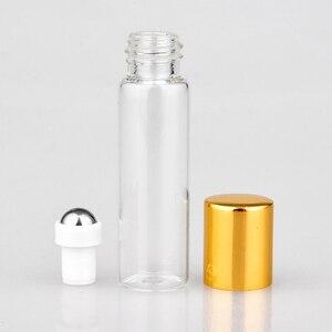 Image 3 - Toptan 100 adet/grup Mini cam parfüm şişeleri üzerinde rulo ile boş kozmetik uçucu yağ seyahat için çelik top ile şişe