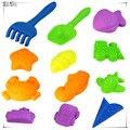 Nova chegada 2016 twinset areia criança dos desenhos animados 12 peças/set brinquedo da praia conjunto de brinquedos ferramentas de jogo de areia espaço areia molde Playdough