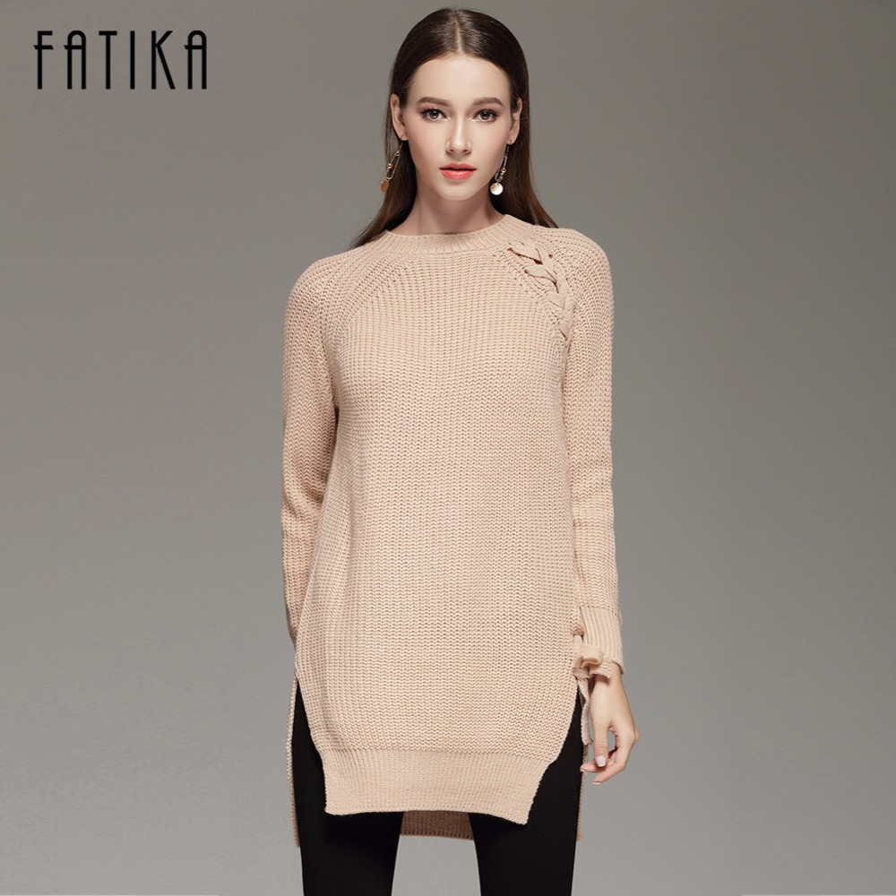 FATIKA 2017 Autumn Winter Women s Fashion Lace Up Sweater Dress Loose Casual O Neck Knitted