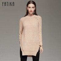 FATIKA 2017 Autumn Winter Women's Fashion Lace Up Sweater Dress Loose Casual O Neck Knitted Mini Dresses For Women