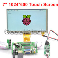 Raspberry Pi 4 B All Platform 7 Inch 1024*600 TFT LCD Resistive Display Monitor Touch Screen with Driver Board HDMI VGA 2AV