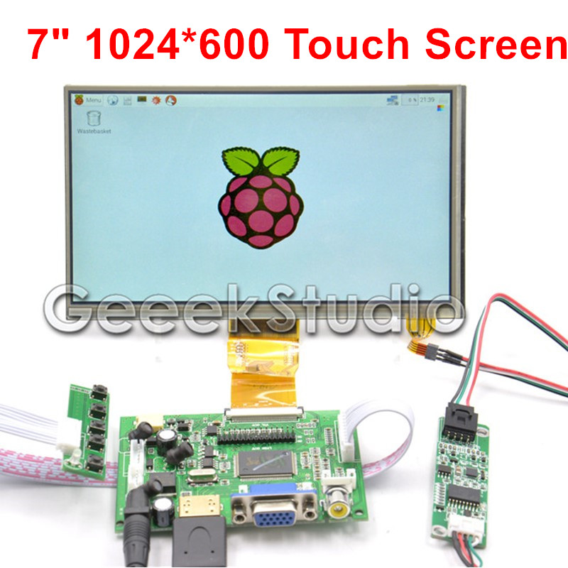 Raspberry Pi 7 Inch 1024*600 TFT LCD Display Monitor Touch Screen with Driver Board HDMI VGA 2AV skylarpu hdmi vga control driver board 7inch at070tn90 800x480 lcd display touch screen for raspberry pi free shipping
