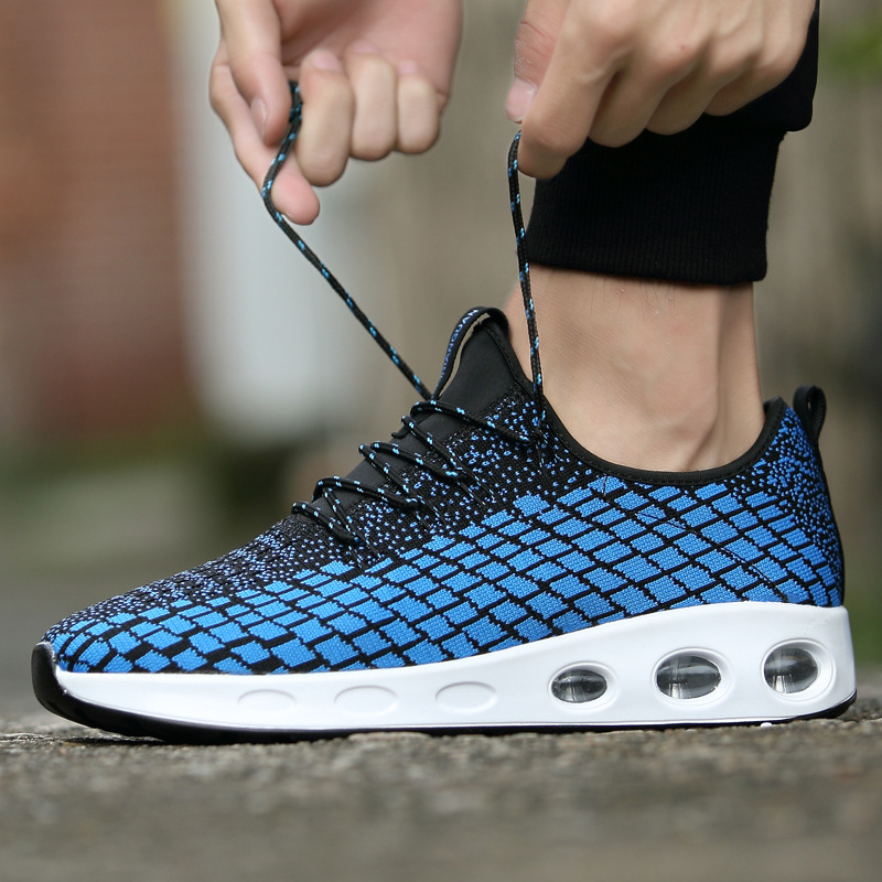 Men Sneakers 2018 AIR Cushion Running Shoes Outdoor Shock Absorber Light Walking Shoes Camping Trail Flyknit Lattice Sport Shoes