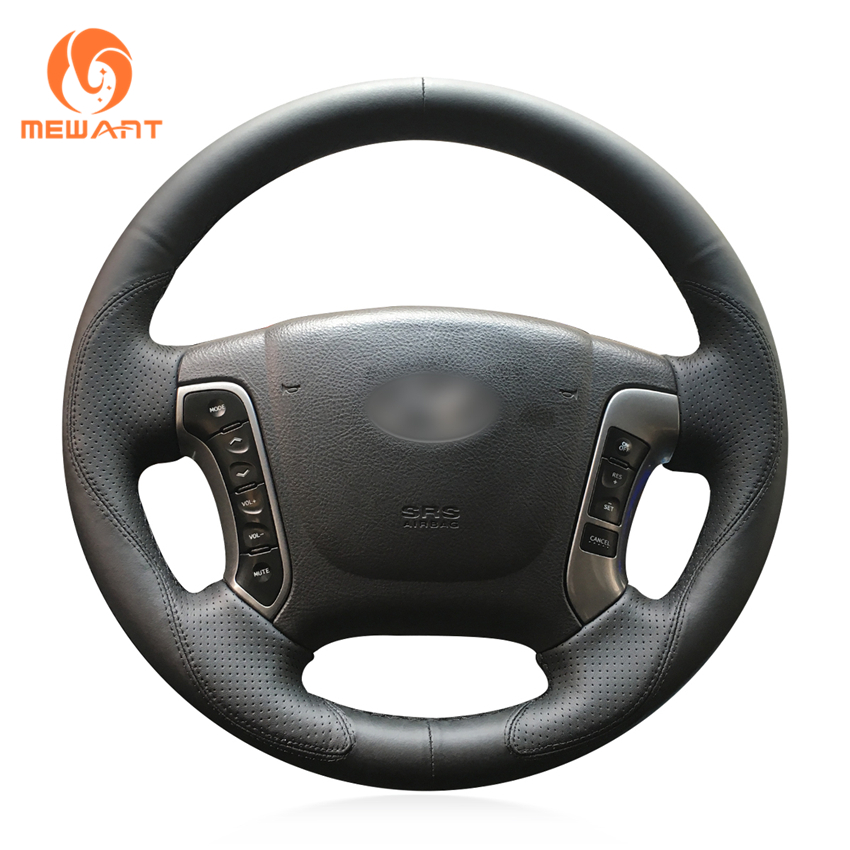 MEWANT Black Genuine Leather Comfortable Hand Sew Car Steering Wheel Cover for Hyundai Santa Fe 2007