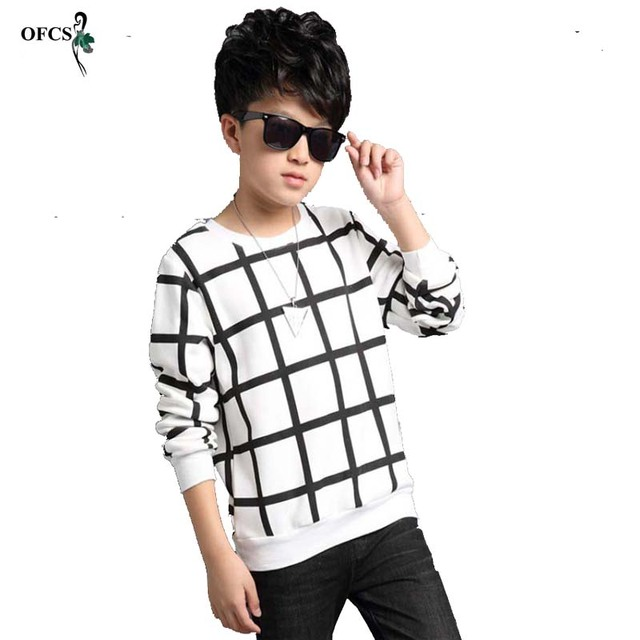 OFCS Autumn Boys Sweater Grid Design Printing Children Knitwear Boys Wool Pullover Sweater Kids Fashion Outerwear T-shirt 5-16 T