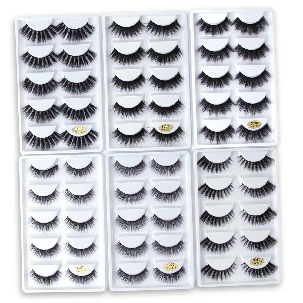 5 Pairs Mink Eyelashes 3D False Lashes Thick Crisscross Makeup Eyelash Extension Natural Volume Soft Fake Eye Lashes G800 G806