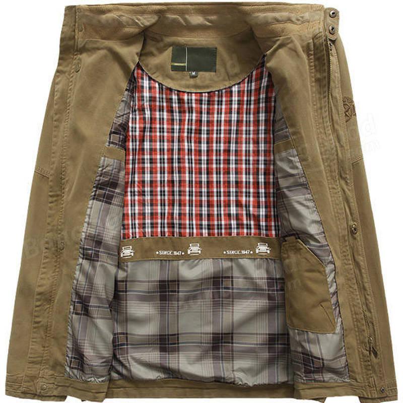 2018 New Military Jacket Mens Coat Army Big Size Menss Pilot Jackets Autumn Cotton Blend Zipper Warm Coat Jacket Outwear S-5XL