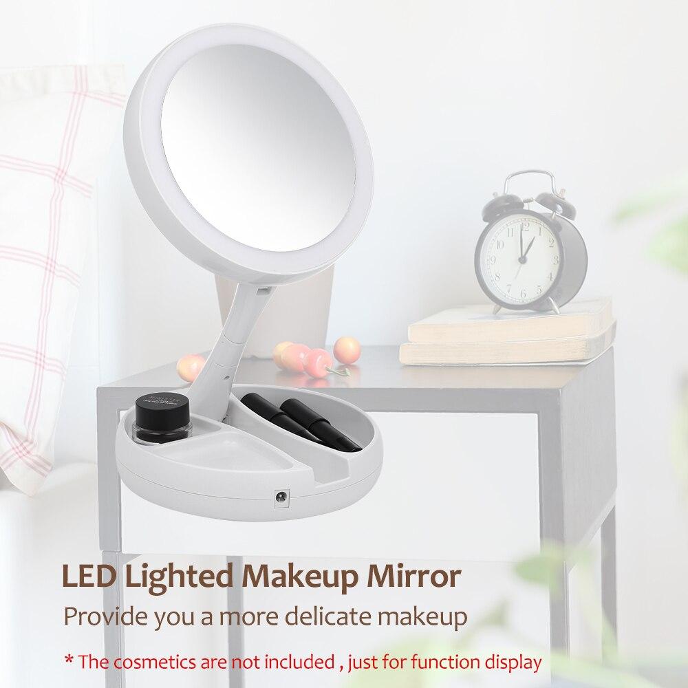 Tipode organismo plegable espejo de maquillaje profesional 10X lupa espejos Tri-fold escritorio espejos hacer herramienta y almacenamiento caja