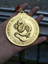 taekwondo medals custom designs 3D gold Medals low price Customized for sports award with red ribbons
