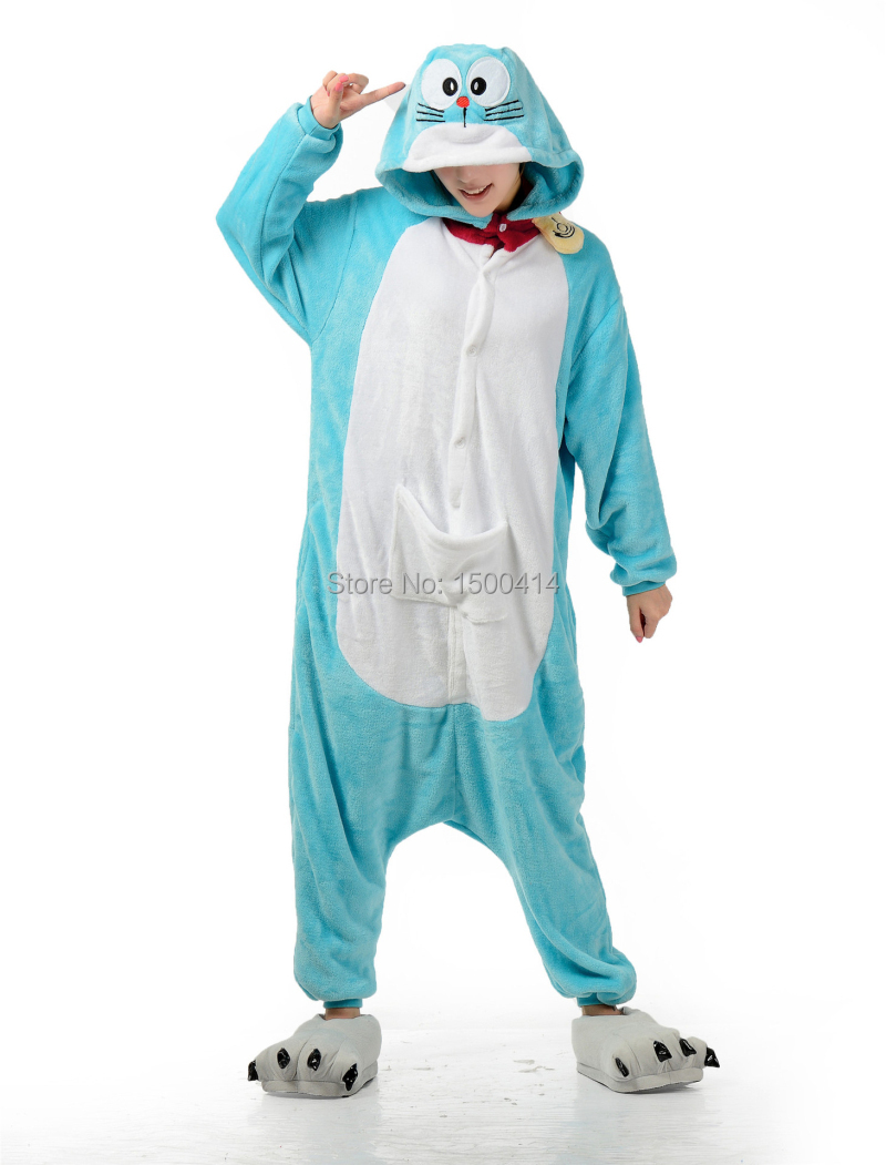 Japanese Anime Doraemon Costume Adult Onesies Pajama Clothes For Halloween Carnival Masquerade Party
